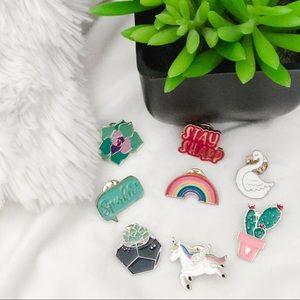 Unicorn & succulent Enamel pins